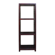 Chinese Distressed Brown Narrow Storage Display Bookcase Cabinet Cs2325