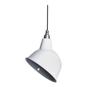 Oulton Enamel Pendant Light, White, Black and White Cable, Without Cage
