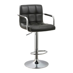 Contemporary Adjustable Swivel Arm Bar Stool With Cushion Black