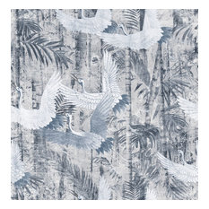 Crane Floral Wallpaper, Blue