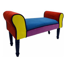 Contemporary Lounge Chaise Upholstered in Multi-Coloured Fabric with Wooden Legs