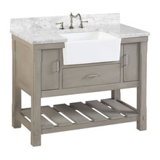 "Charlotte Bathroom Vanity, Weathered Gray, 42"", Carrara Marble Top, Single Sink"