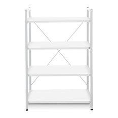 Metal Frame Bookcase, White