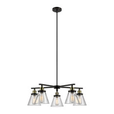 Shae 5-Light Oil Rubbed Bronze & Antique Brass Vintage Edison Chandelier