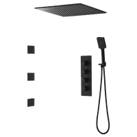 Ceiling Mount Square Black Rain Shower System With Body Spray Jets in Wall, 16 I