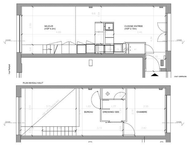 Am nager un petit espace zoom sur trois mini duplex - Studio plan met mezzanine ...