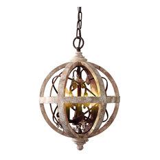 Retro Rustic Weathered Wooden Globe Metal Orb Crystal 3-Light/5-Light Chandelier