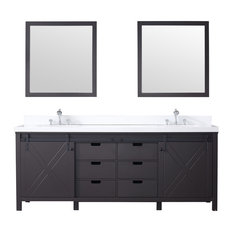 "84"" Double Vanity Brown, White Quartz Top, White Sinks, 34"" Mirrors"