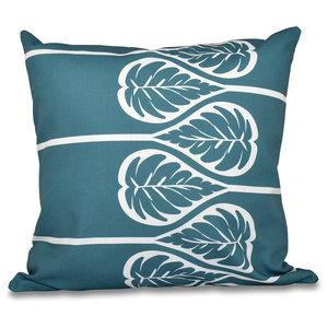 "Fern 2, Floral Print Pillow, Teal, 20""x20"""