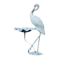 Verdigris Finish Aluminum Crane Birdbath