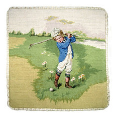 """Finest Pettipoint Boy In Blue Golf With Cording Pillow, 14""""x14"""""""