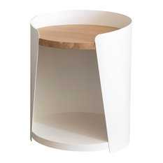 Armand Side Table, White, Natural Oak Tabletop