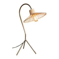 Retro Tropical Antiqued Brass Finish Table Lamp Rattan Umbrella Shade Arm Desk