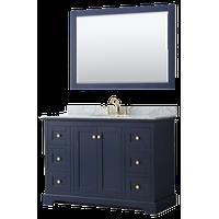 """Avery 48"""" Dark Blue Single Vanity, Carrara Marble Top, Oval Sink, 46"""" Mirror"""