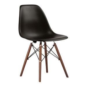 Poly and Bark Vortex Side Chair Walnut Legs, Black