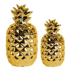 Fascinating Ceramic Pineapple Canister, Gold, 2-Piece Set