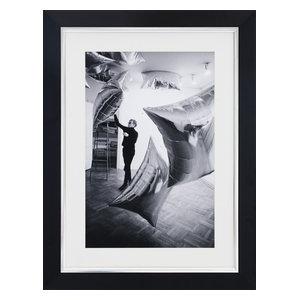 """Silver Clouds Installation"" Framed Print, 57x75 cm"