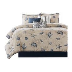 Printed 7-Piece Comforter Set, Blue, California King
