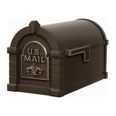 Gaines Mfg Keystone Curbside Bronze Mailbox, Antique Bronze, Fleur-de-Lis