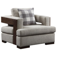 Acme Niamey Chair With 1 Pillow In Fabric And Cherry Finish 54852