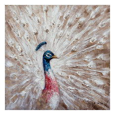 """""""The Curious Peacock"""" Hand Painted Canvas Art, 40""""x40"""""""