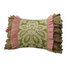 Artistic Sensations - 20x26 Green Damask with Green, Pink, and Sage Triple Ruffle Standard Sham - Kids Pillowcases & Shams