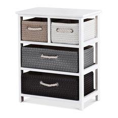 Modern Storage Drawer Nightstand Woven Basket Cabinet BedSide Table