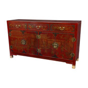 Large Buffet Table in Red Lacquer Finish