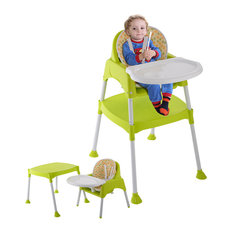 Costway Green 3 in 1 Convertible Table Seat Booster Toddler Feeding Highchair