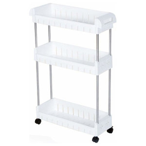 Modern Trolley Cart, Stainless Steel Frame and White PP Plastic Shelves