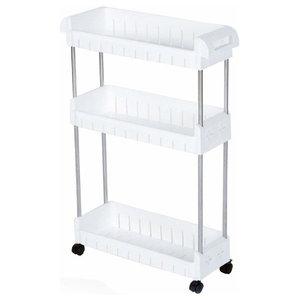 Modern Trolley Cart, Stainless Steel Frame and White PP Plastic Shelves
