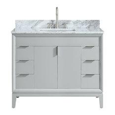 "Avanity Emma 43"" Vanity Combo, Dove Gray With Carrara White Marble Top"