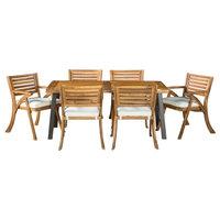GDF Studio 7-Piece DeSoto Teak Finish Acacia Wood Patio Dining Set