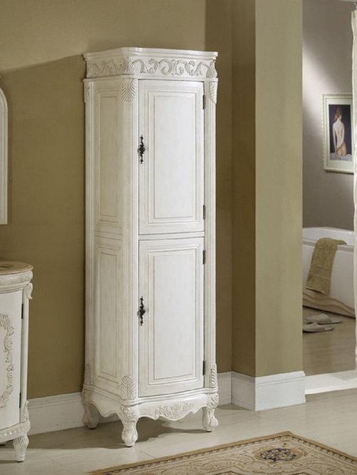 White bathroom linen tower
