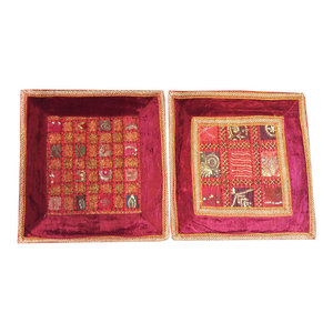 Mogulinterior - Indian Sofa Cushion Covers Embroidered Patchwork Maroon Bohemian Pillow Cases - Pillowcases And Shams