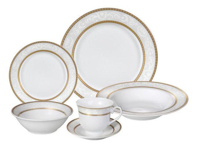 24 Piece Fine Wavy Edge Porcelain Dinnerware Set Amelia design Amelia  sc 1 st  Houzz & 24 Piece Fine Wavy Edge Porcelain Dinnerware Set Amelia design ...