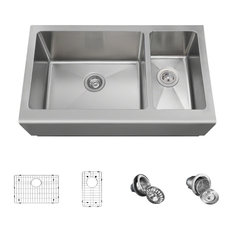 Offset Stainless Steel Apron Sink, Wide Left, Ensemble