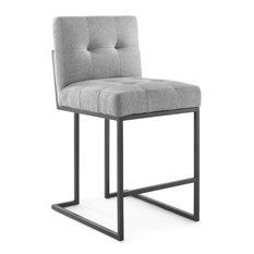 Privy Black Stainless Steel Upholstered Fabric Counter Stool, Black Light Gray