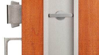 Pocket door locks and flush pulls