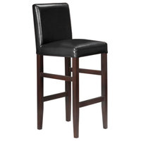 Kendall Contemporary Wood Faux Leather Bar Stools, Black Licorice, Set of 4
