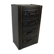 4 Drawer Faux Leather Chest,Antique Black