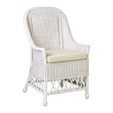 East At Main's Rattan Square Accent Chair, Bennett White