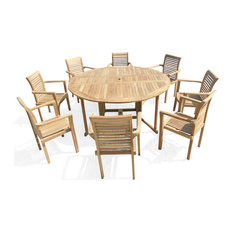 """Grade A Teak 6 ft (72"""") Across Round Drop Leaf Table W/8  Stacking Arm Chairs"""