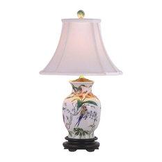 Tropical Flowers Porcelain Amphora Vase Table Lamp