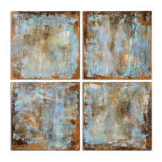 Abstract Modern Turquoise Aqua Blue Wall Squares, 4-Piece Set