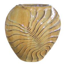 "19"" Caramel Brown Anemone Ceramic Vase 17"" Wide"