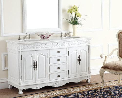 Antique Adelina 63 Inch White Antique Double Bathroom Vanity   Bathroom  Vanities And Sink Consoles