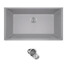 848-Silver Quartz Granite Sink with Basket Strainer