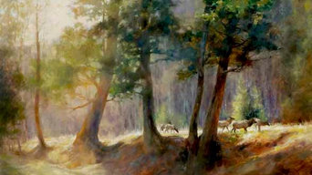 Among the Pines 36 x 48 oil Painting