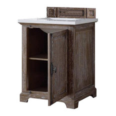 "Providence 26"" Driftwood Single Vanity w/ 3cm Snow White Quartz Top"